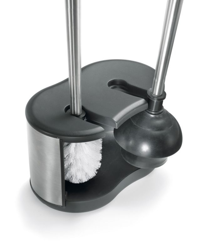Polder Bth 6300 95 Stainless Steel Dual Bath Caddy With Toilet Brush And Plunger Toilet Brush Bath Cleaning Toilet