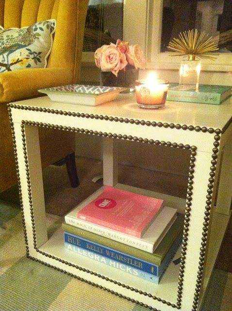 """Clayton Grey style table made from two Ikea """"Lack"""" tables and nailhead strips."""