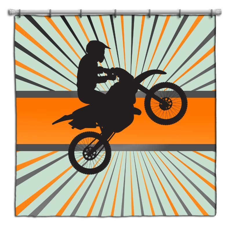 Orange Dirt Bike Motocross Shower Curtain From Extremely Stoked