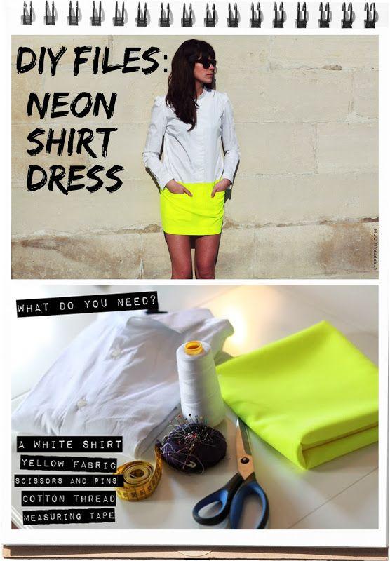Maak zelf van een basic blouse en een neon stofje een gave NEON SHIRT MINIJURK >>> klik op de afbeelding voor een Engelstalige tutorial >> DIY Neon Shirt Dress