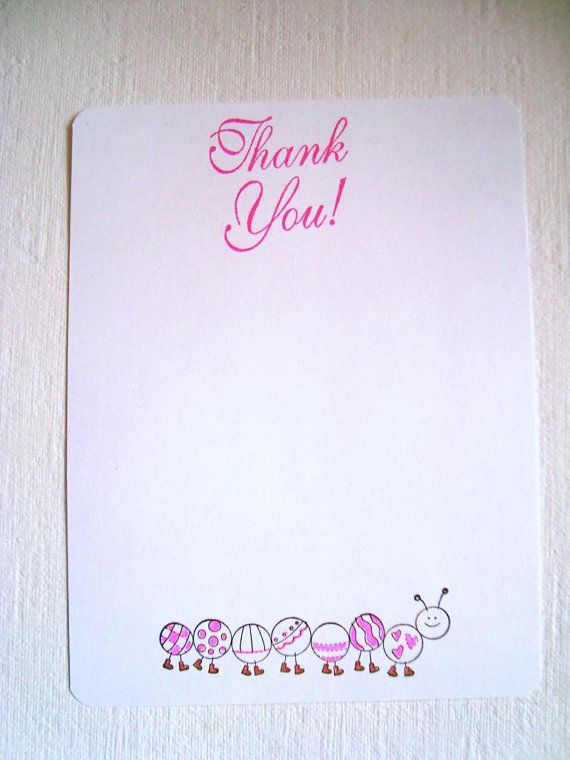 Caterpillar Thank you note cards Baby shower new baby by Wcards, $12.20