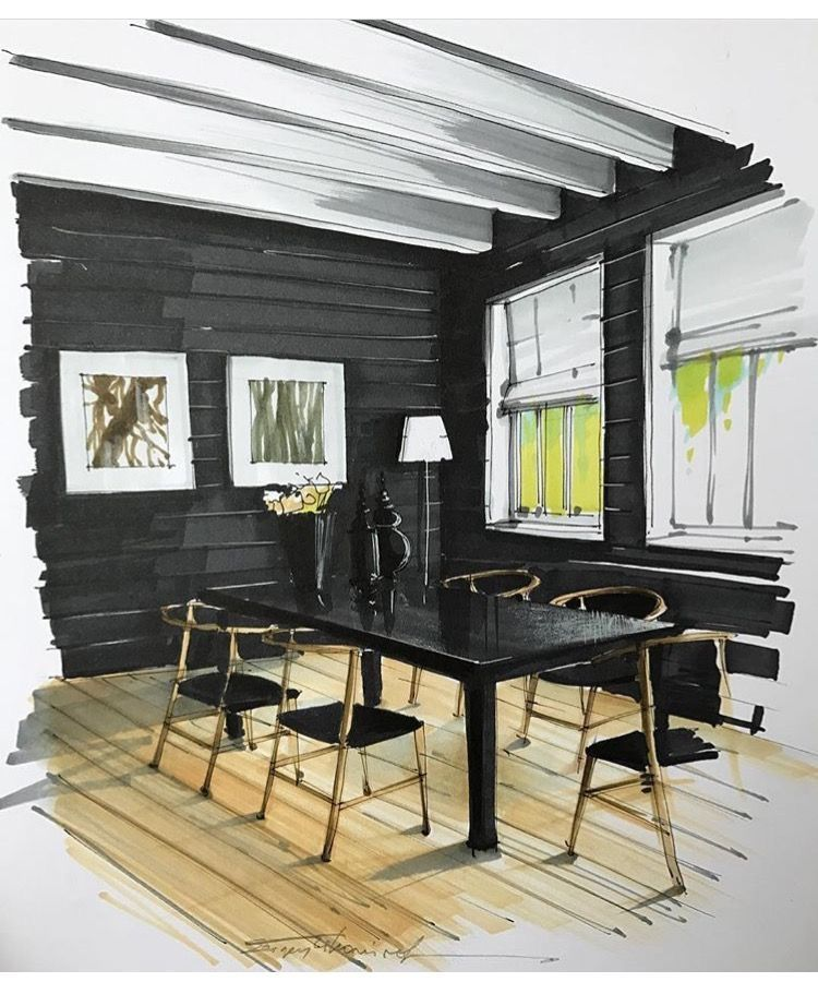 Office Interior Hand Rendering Black Plank Walls And Wood Beam