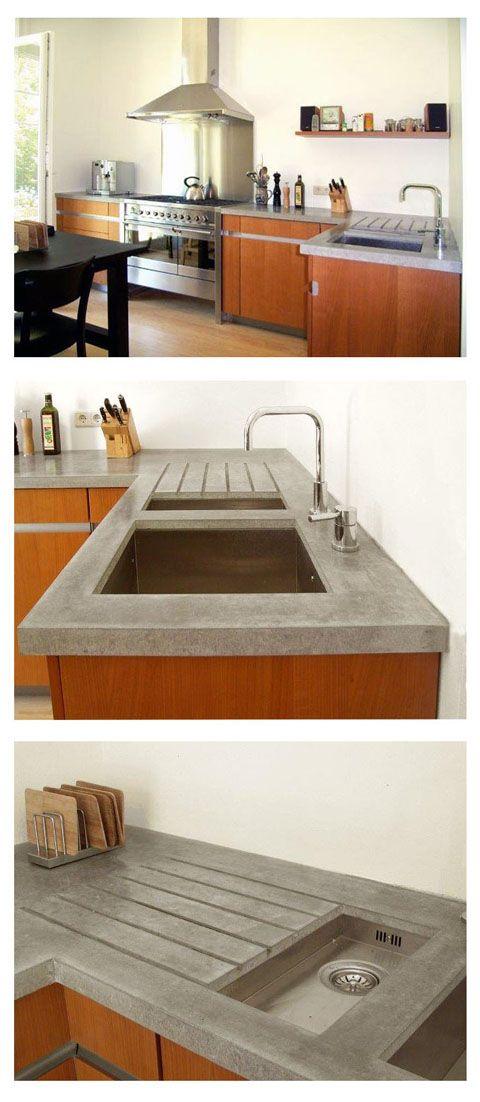 Dauerhaft, pflegeleicht, schön Arbeitsplatte aus Sichtbeton - matte kuchenfronten arbeitsplatten pflegeleicht