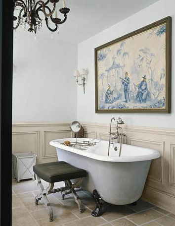 Fav paint colors farrow  ball light blue and old white (Bathroom