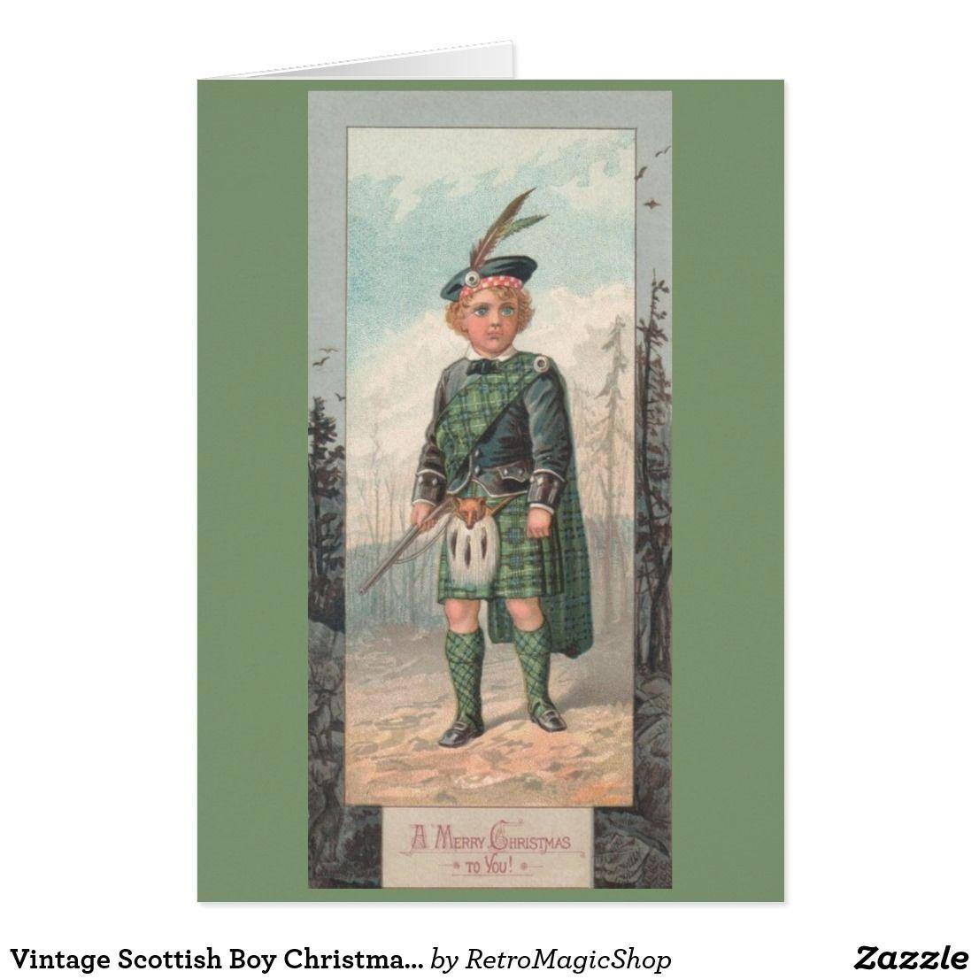 Vintage Scottish Boy Christmas Greeting Card