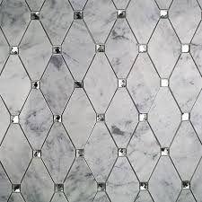 Image result for white diamond tile with marble antique mirror accents also