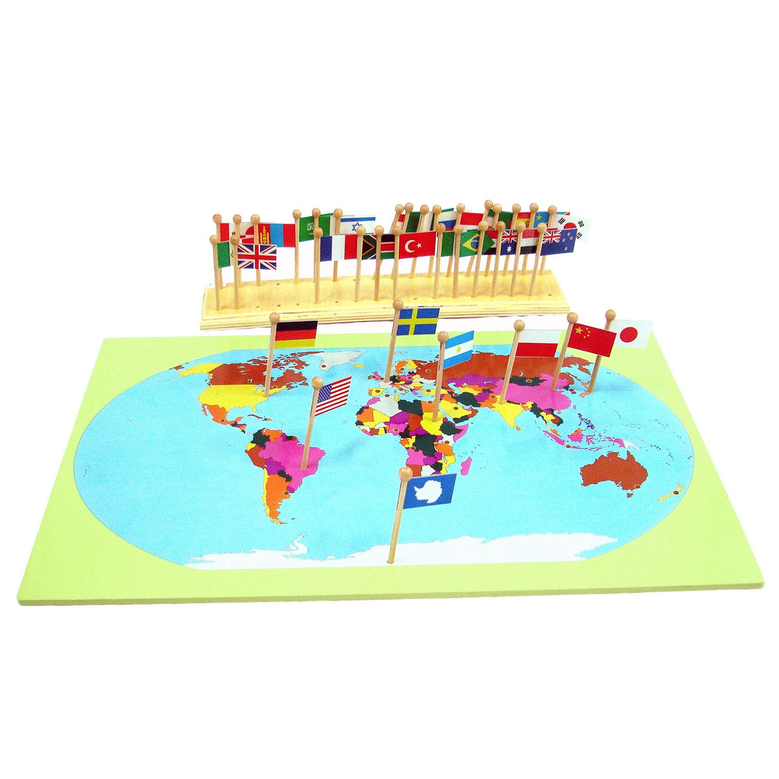 Flag stand world map with flags from montessori shop schooling flag stand world map with flags from montessori shop gumiabroncs Images
