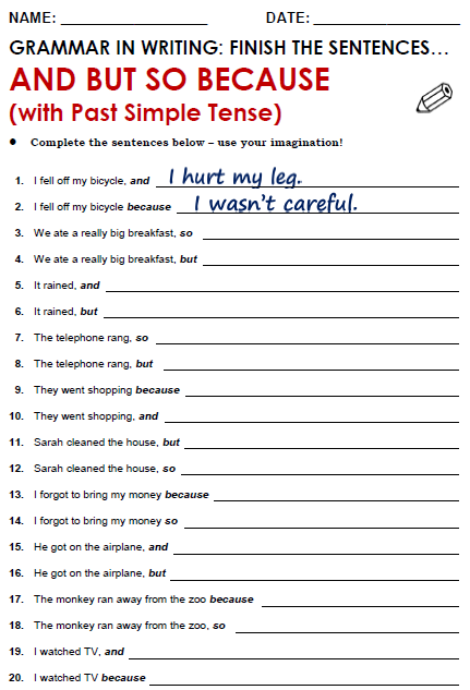 And But So Because Learn English Grammar English Grammar Worksheets Linking Words