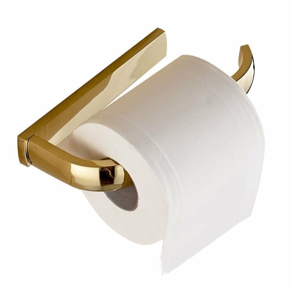 Photo of Leyden Gold Finish Semi-Open Toilet Paper Holder Wall Mount Brass 61 …