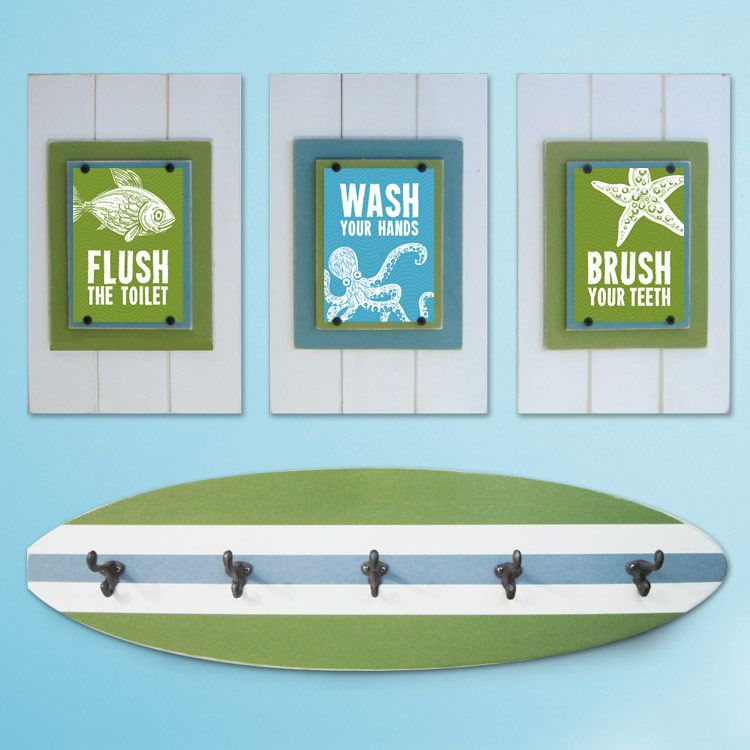 Kid's Beach Bathroom Print Set And Surfboard Towel Rack