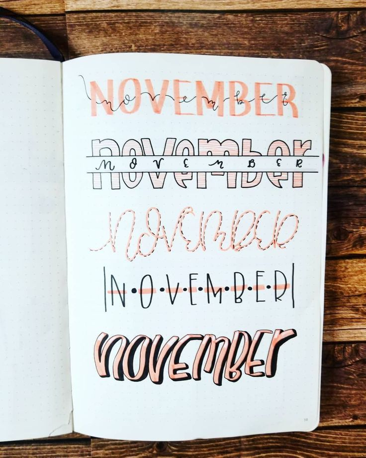 Some title lettering ideas for your bullet journal...styles for your November cover page #bujocoverpage #handlettering #bujomonthly #bujoideas #bujoaddicts #bulletjournal