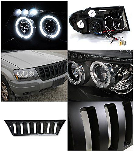 Black Led Drl Halo Projector Jeep Grand Cherokee Headlights And Wj Hood Grille Jeep Grand Cherokee Jeep Grand Cherokee Accessories Jeep Wj