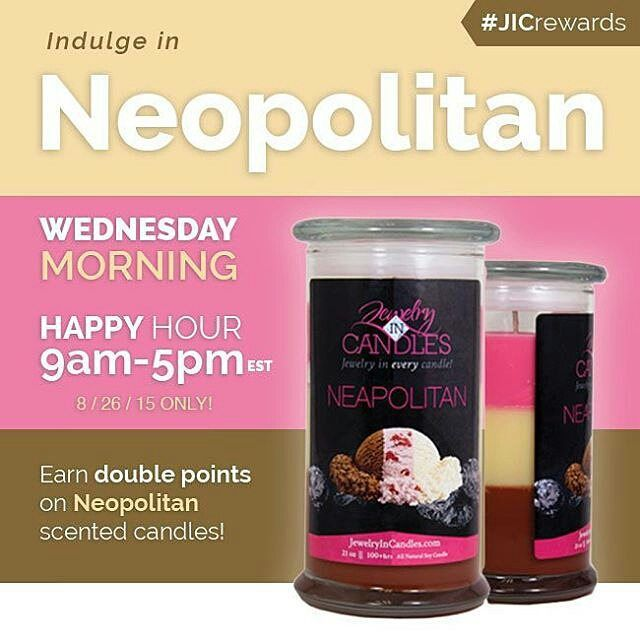 Strawberry Vanilla or Chocolate? We'll take them all!  Earn double points on #Neapolitan candles today until 5pm EST  jicbyjulie.com