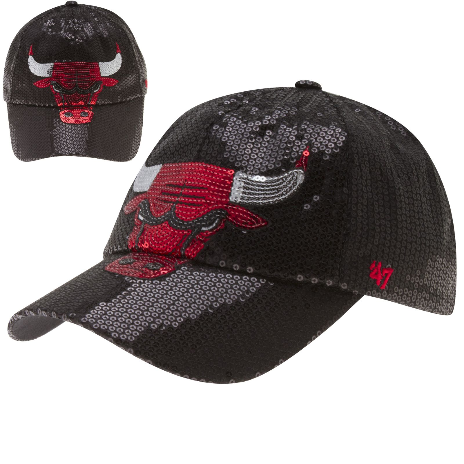 Chicago Cubs Women s Black Sequin Angry Bull Logo Dazzle Adjustable Hat by   47  Chicago  Bulls  ChicagoBulls  BullsNation af3236f46c