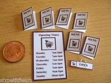 Coffee shop CAFE menus opening times door sign CHOOSE 1/12th 1/24th dolls house