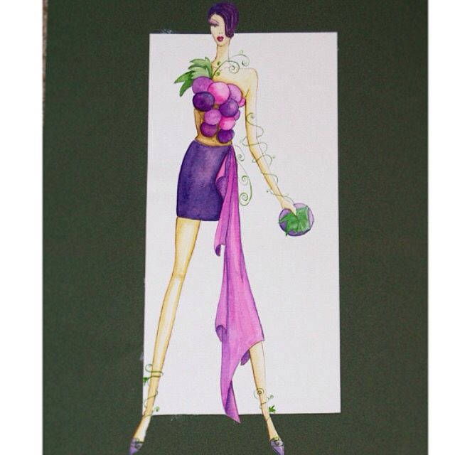 Fashion illustration inspired by grapes