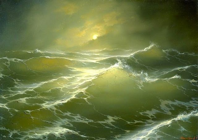 """448-5/""""x 7/"""" ORIGINAL CANVAS FINE ART PRINT SEASCAPE Ocean Walls Waves Rough Sea"""