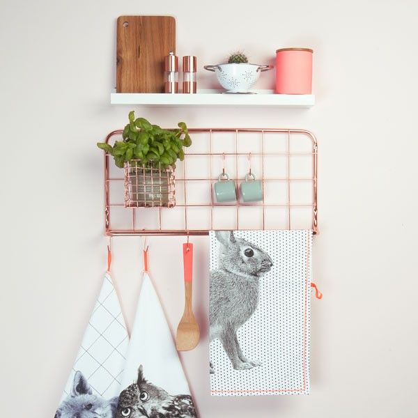 Open Grid Kitchen Rack - Copper Kitchen racks, Copper wall and