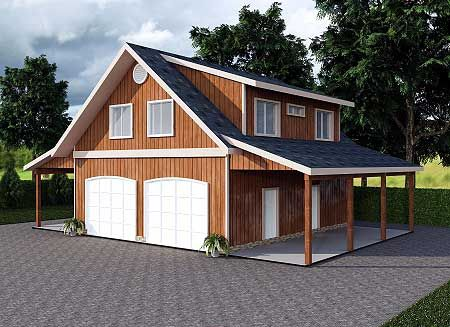 Plan 35443GH: Garage Apartment with Art Studio