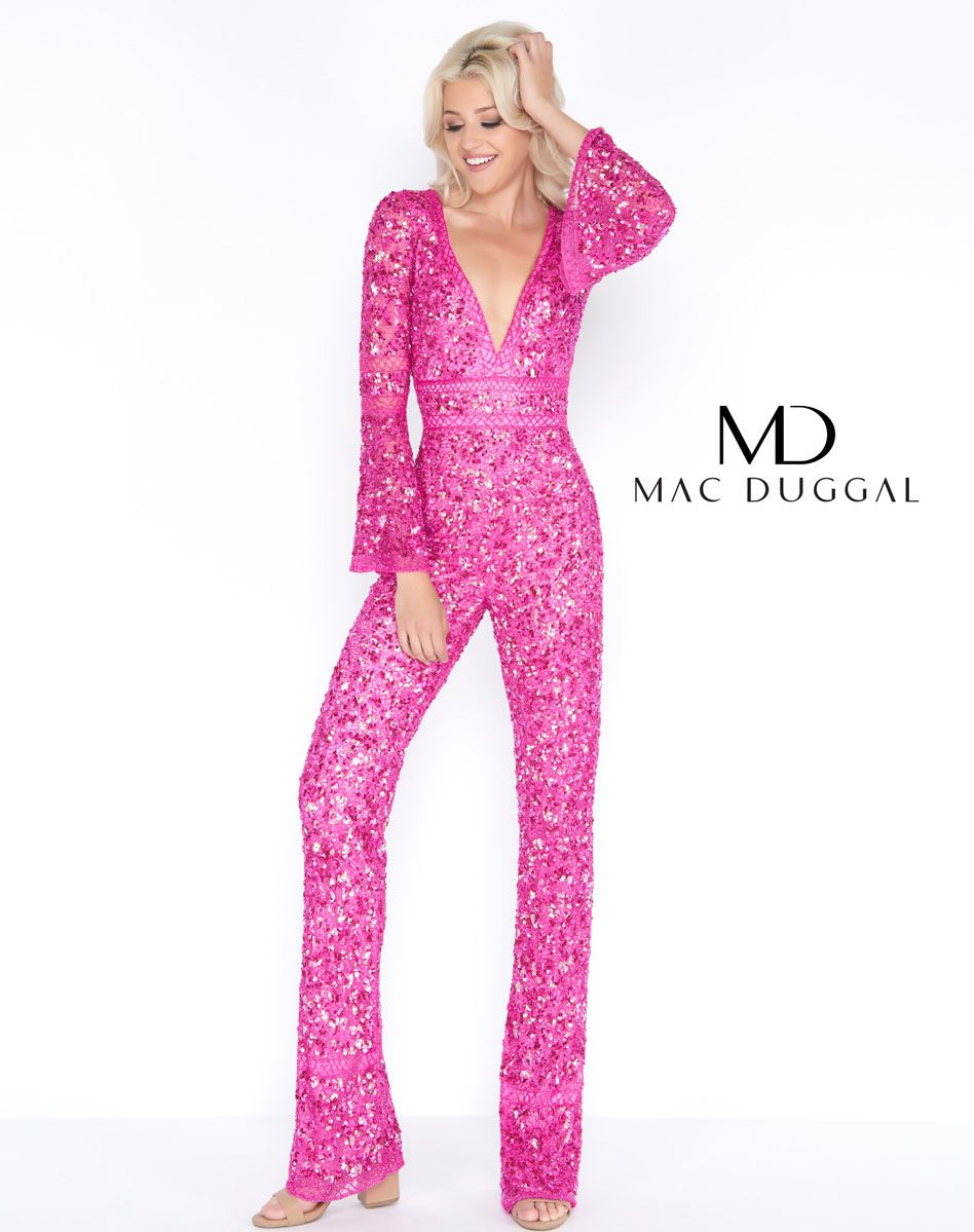 MAC DUGGAL 4581A Raspberry Pantsuit Pant Outfit Hot Pink fully ...