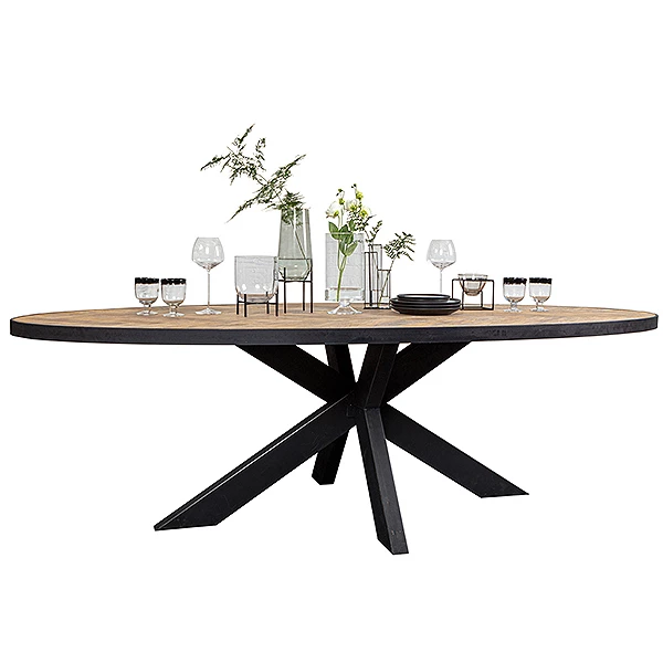 Sussex Oak Parquet Industrial Oval Dining Table With Images