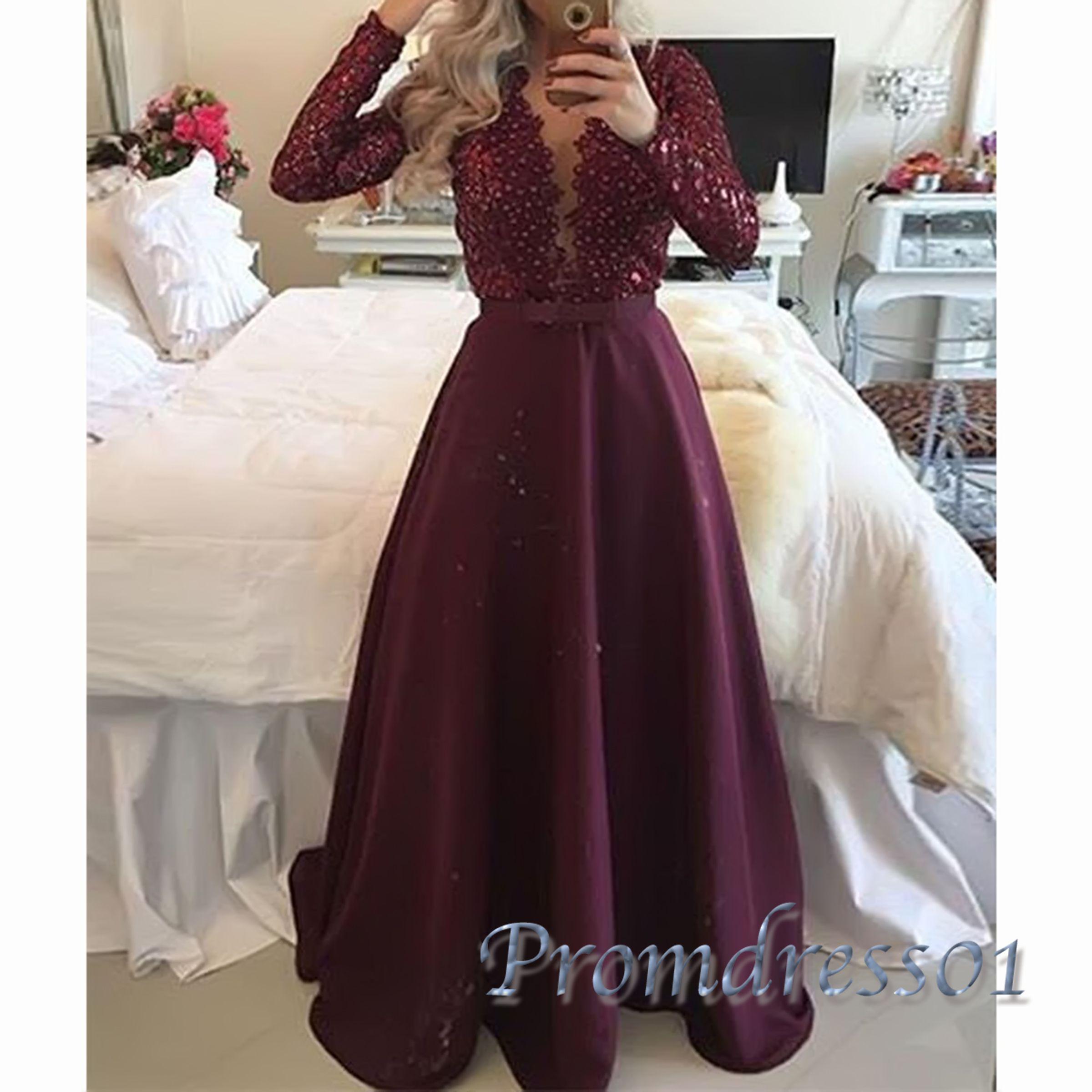 Beautiful long sleeved burgundy lace chiffon modest prom dress with