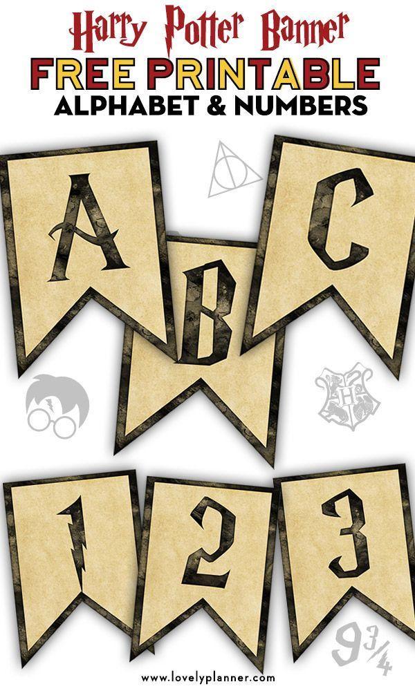 Photo of Kostenlose druckbare Harry Potter Banner mit Alphabet und Zahlen #alphabet #banne …