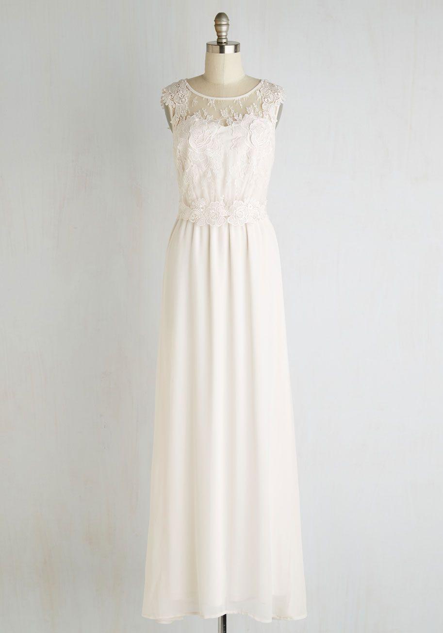 ea5930b9922 Illuminated Elegance Chiffon Maxi Dress in Ivory. Modcloth WeddingBoho ...