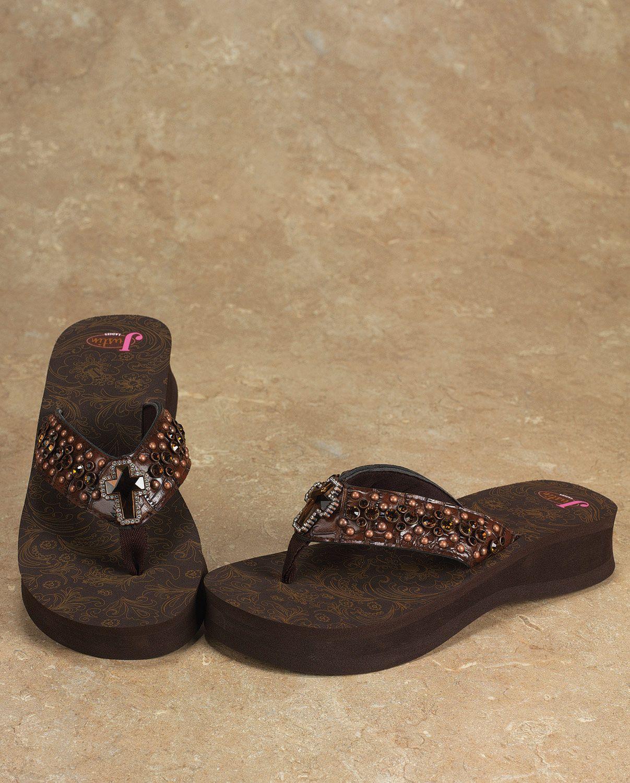 38a68c127c0acd Justin® Ladies  Cross Flip Flop