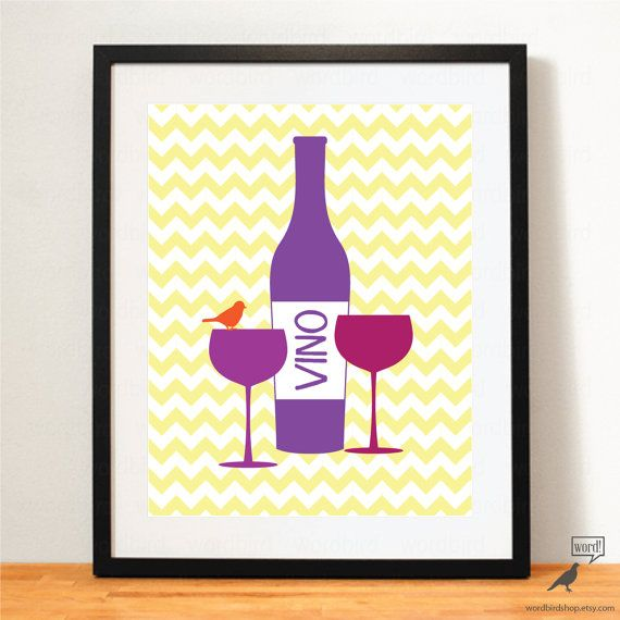 Wine, Kitchen Print, Wine Poster, Kitchen Decor by WordBirdShop ...