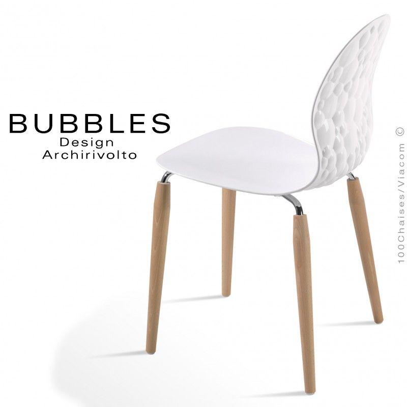 Chaise Design Opaque Bubbles Assise Blanche Pietement Bois Naturel Chaises Bois Chaise Design Tabouret Design
