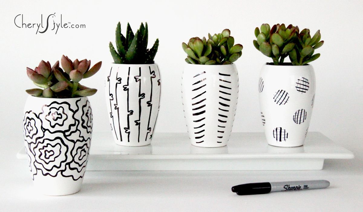 sharpie #decorated #DIY ceramic #centerpieces on www.CherylStyle.com