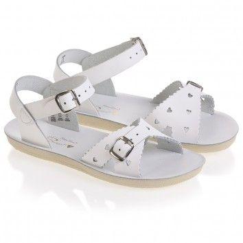 Sun-San Sandals Girls White Leather Salt Water Sandals (Sweetheart) at Childrensalon.com