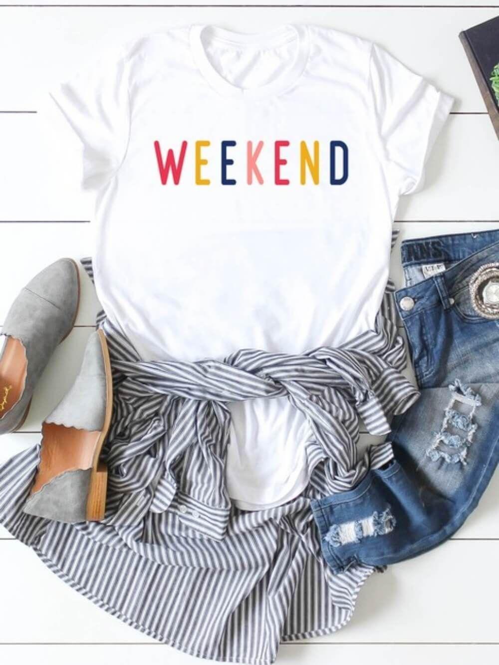 Rainbow Weekend Women's Graphic T-Shirt White - M