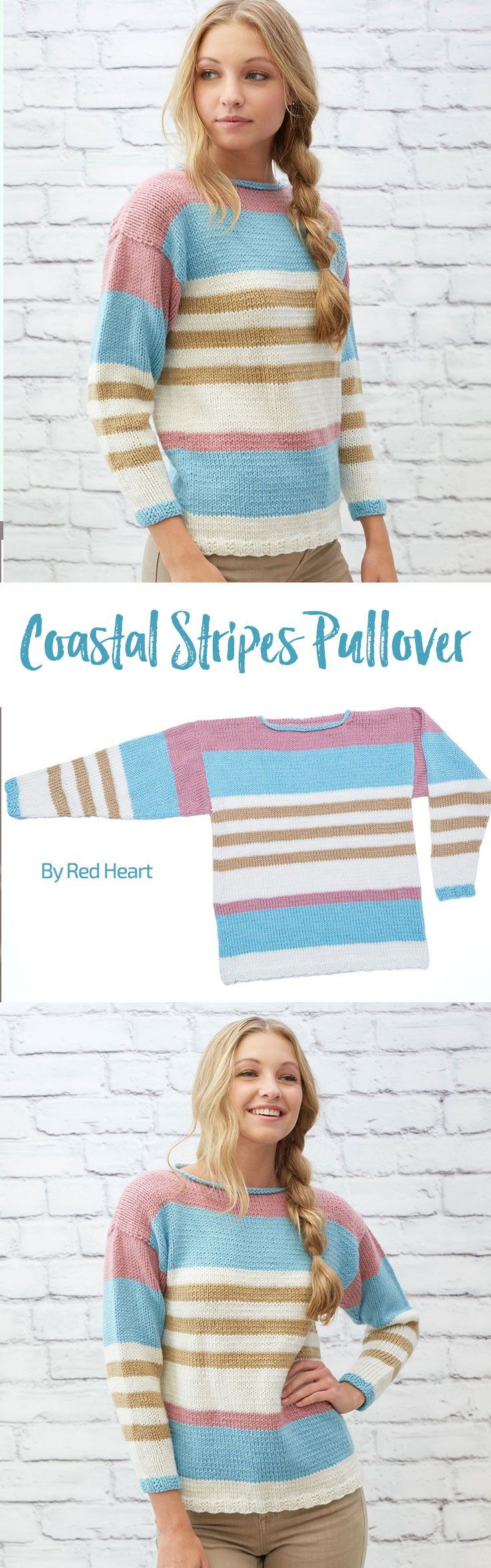 Coastal Stripes Pullover free knit pattern in With Love.   Tejido a ...