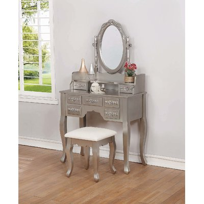 Charlton Home Karlstad Vanity Set With Mirror Wayfair Bedroom Vanity Set Vanity Set With Mirror Vanity Set