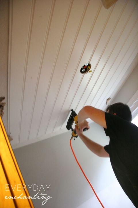 Diy Beadboard Ceiling Tutorial Easy And Inexpensive Custom