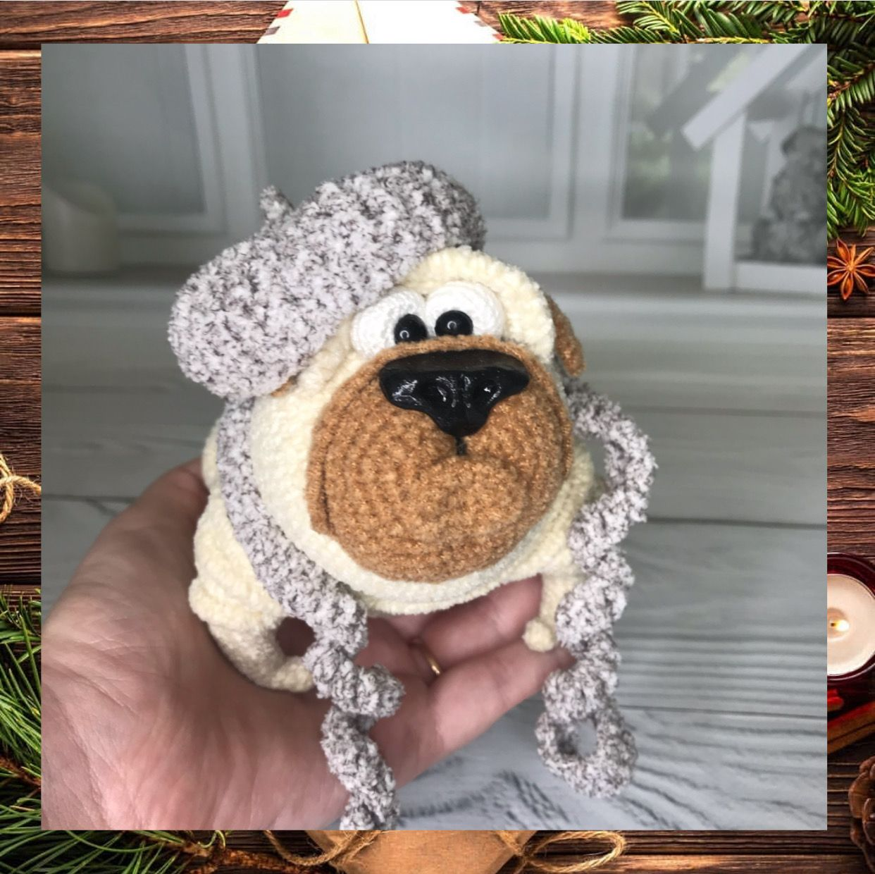 Cute pug toy christmas stocking for dogs amigurumi