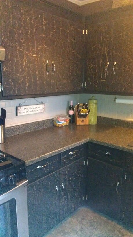Antique Black Kitchen Cabinets So Easy Valspar Crackle Glaze Amazing Antique Black Kitchen Cabinets