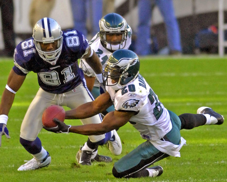 Philadelphia Eagles safety Brian Dawkins intercepting a