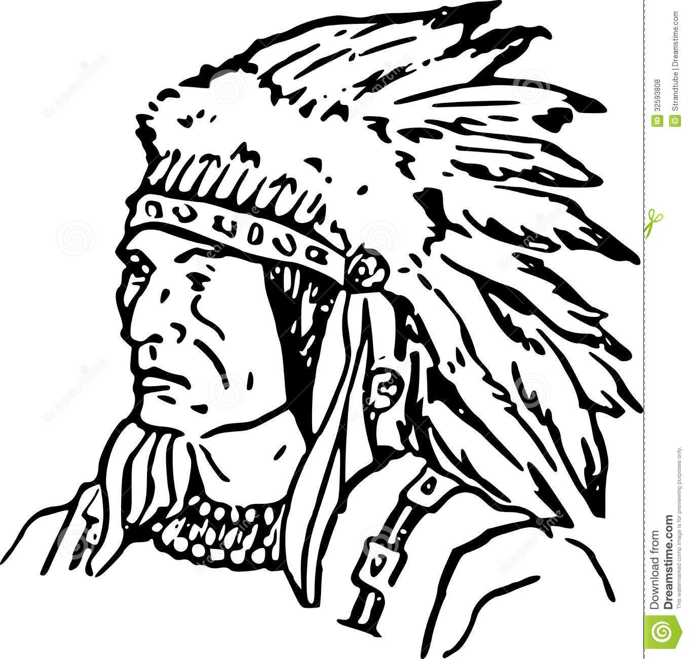 Indian Coloring Pages For Adults Hand Drawn Indian Chief Royalty