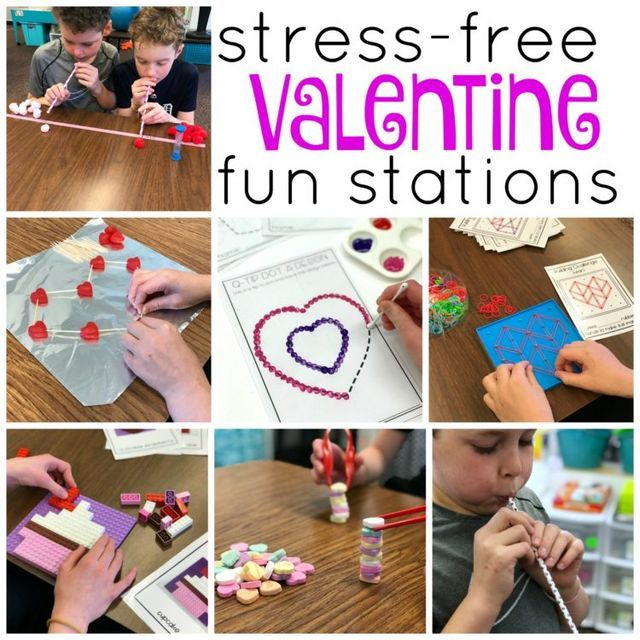 StressFree Valentine's Day Fun Stations is part of Kindergarten valentines, Valentines games, Valentine activities, Differentiated kindergarten, Valentines class party, Valentine's day games - Every teacher wants a stressfree holiday party  Check out these easy peasy, fun and independent Valentine Station Games and Activities