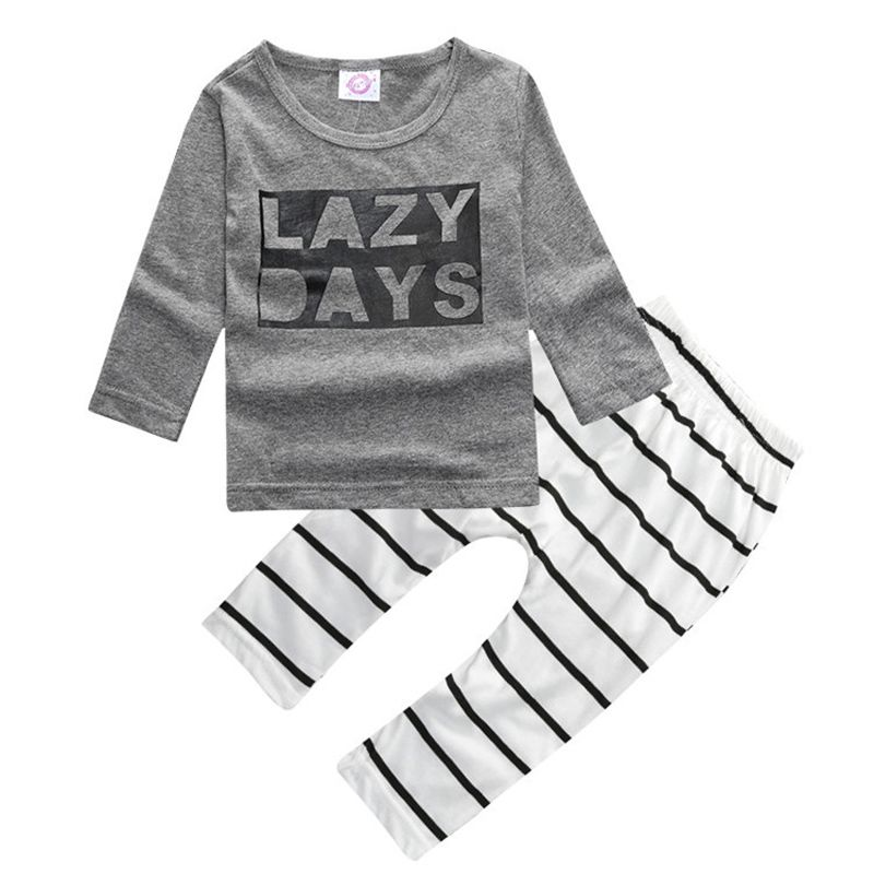 f6bd026669a8 2017 New Baby Boys 2pcs Clothes Girls Clothing Sets Full Cotton Gray Long  Sleeves T Shirts Stripe Pants Outfits For Kid Toddlers