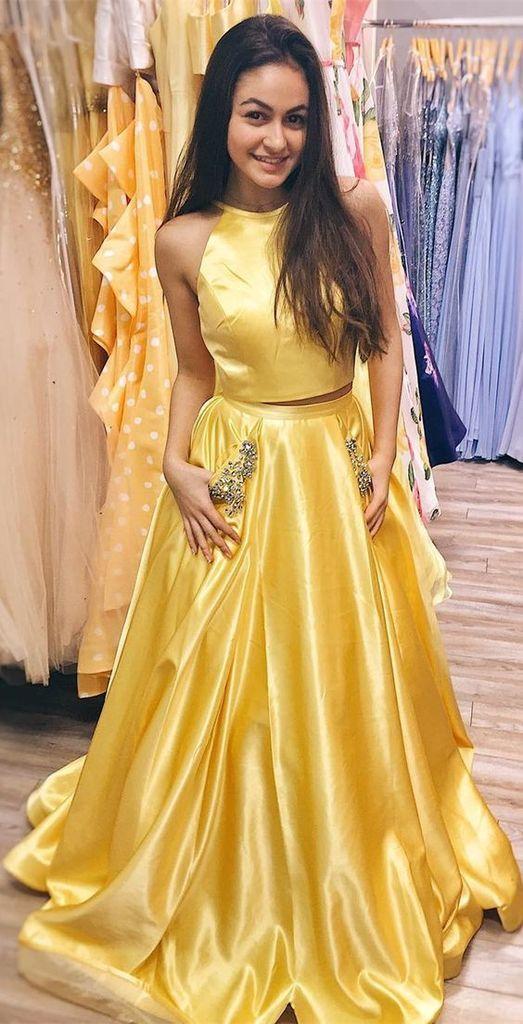 Zwei Stücke lange Open Back Prom Kleid mit Perlen Taschen nach Maß lange Abendkleider Mode lange 2 Stücke Schule Tanzkleider PD770   – 2 pieces prom dresses