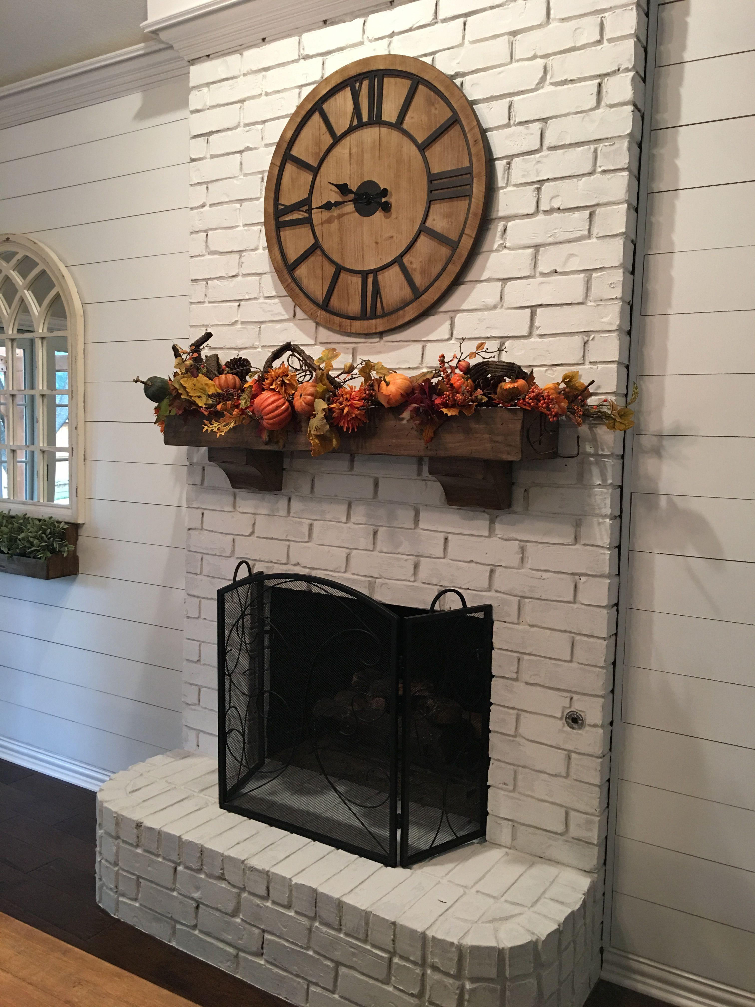 Limewash Brick Fireplace Romabio Classico Avorio White