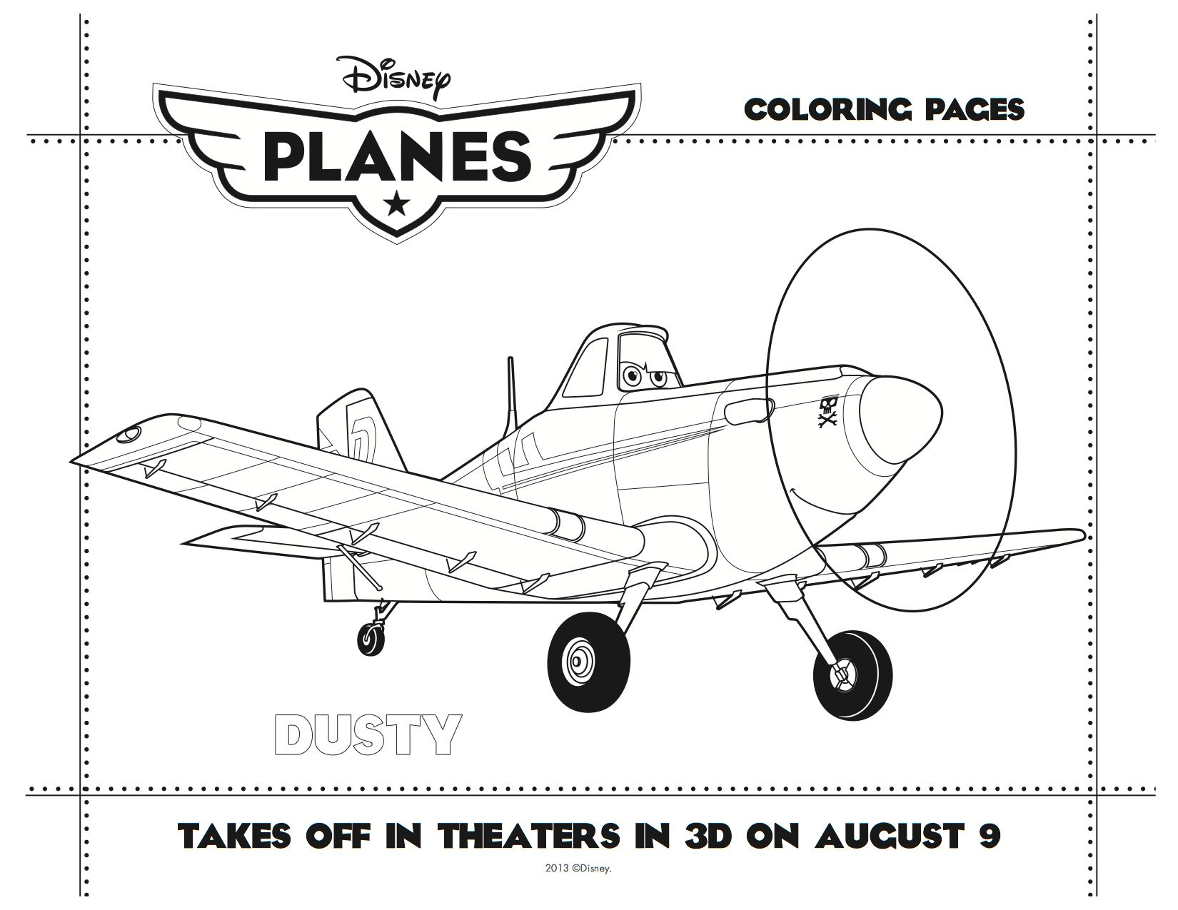 Free Printable Disney Planes Dusty Coloring Page For Kids