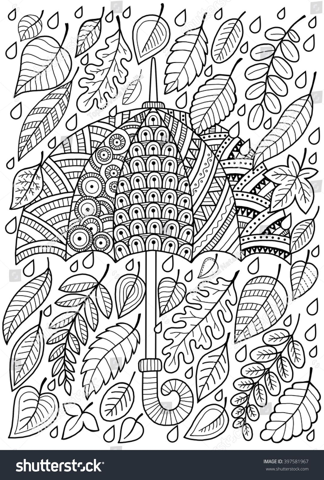Hand Draw Doodle Coloring Page For Adult I Love Autumn