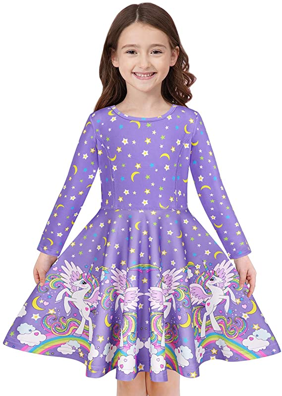 Quedoris Girls Dress Unicorn Printed Casual Party Twirly Dress for Kids in 2t to 9 Years