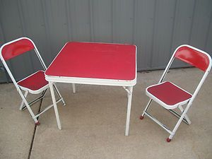 Antique Vintage Childrens Kids Folding Metal Table And Chair