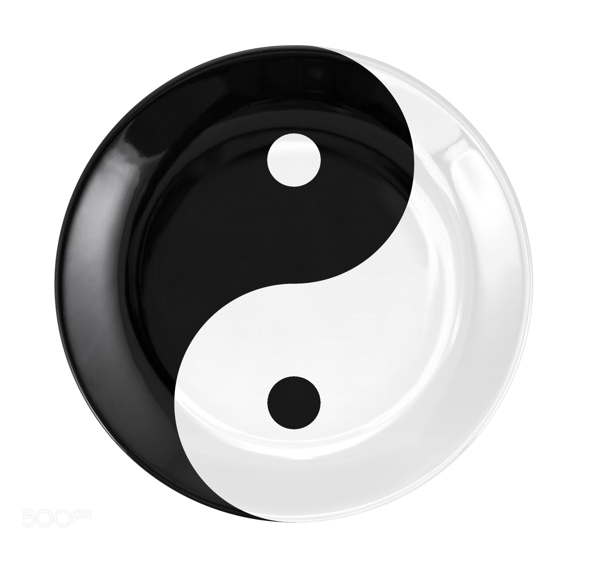 Round Flat Plate With Yin And Yang Symbol Plate With Yin Yang